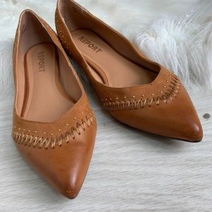 Report pointed toe leather flats size 8.5